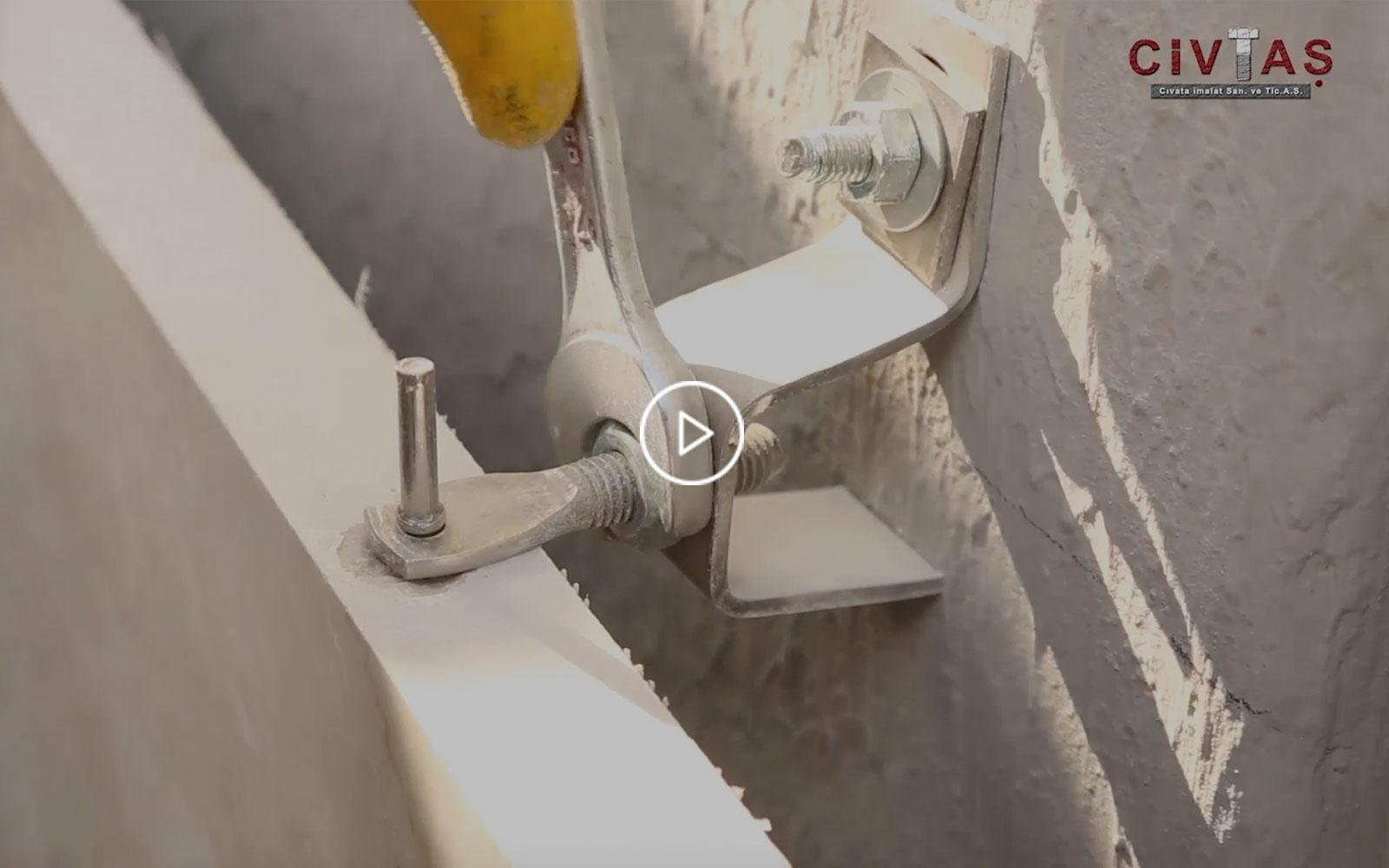 Betona Noktasal Bağlantı Uygulama Videosu. Direct Fixing to Concrete.